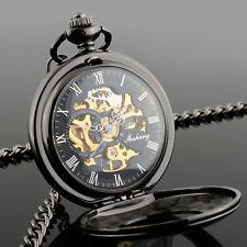 Men's Hollow Steampunk Skeleton Mechanical Analog Quartz Pocket Watch Gift*