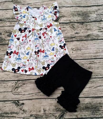 Girls Mickey Bumbo Princess Print Ruffle Short Set 12m-7