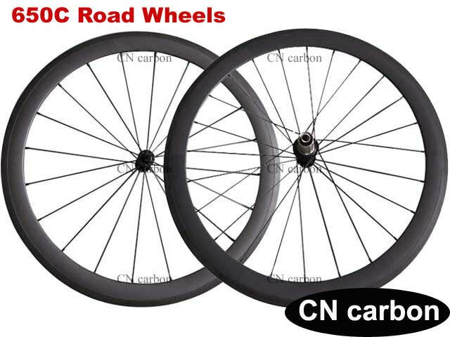 Ultra light 650C 50mm clincher carbon Racing bike wheels Tubeless Ready 1460g