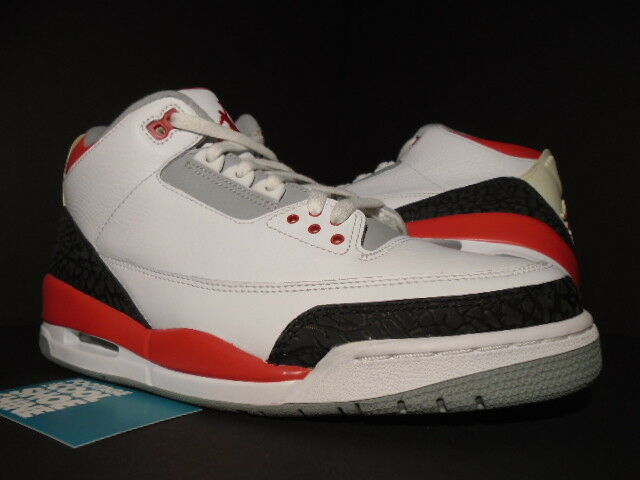 2007 2007 2007 Nike Air Jordan III 3 Retro WHITE FIRE RED CEMENT GREY BLACK 136064-161 9 c7d3a6