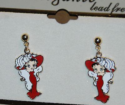 Betty Boop Earrings NIP Dangling Post Red Dress w White in Gold-tone