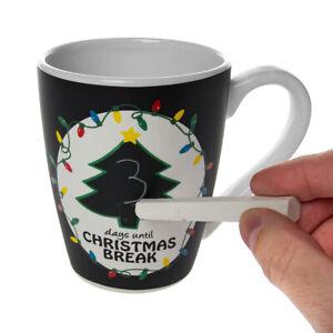 Countdown To Christmas Erasable Chalkboard Holiday Coffee Mug With Chalk Tea Cup