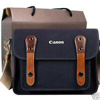 Canon Rebel T6i T6s 6d 7d 60d 70d Canvas Camera Case Bag Shoulder Strap /navy
