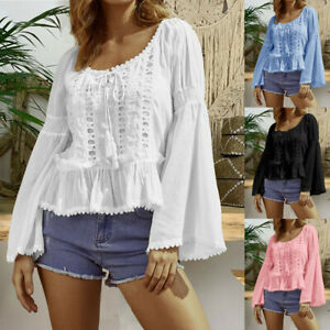 Frauen-Plus-Size-Hollow-Out-Lace-Patchwork-Langarm-Bluse-Casual-T-Shirt-Tops