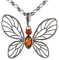 Gift Boxed Baltic Amber Sterling Silver 925 Butterfly Pendant Jewellery Jewelry