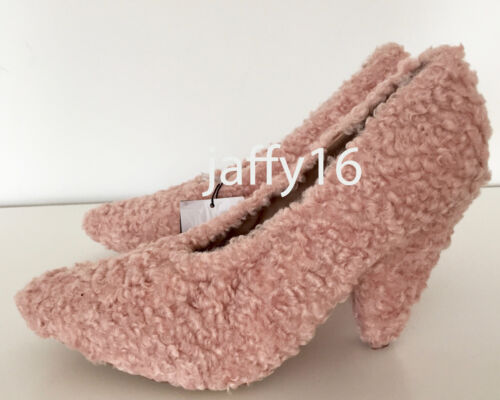 ZARA nouvelle femme en fourrure synthétique Chaussures à talon haut rose 40-41 ref 7224//201