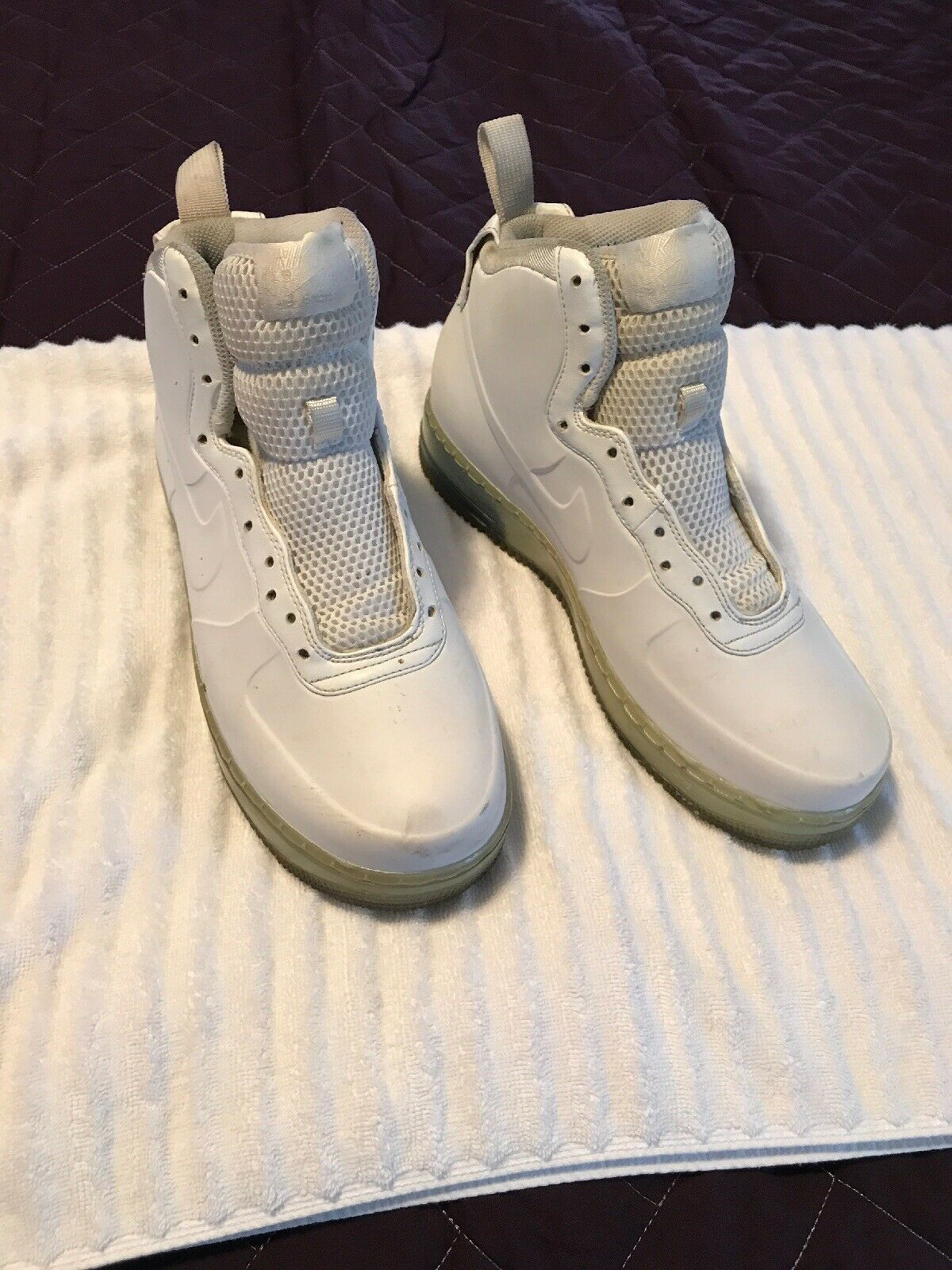 Nike Air Force 1 High Foamposite White Ice bluee 415419-100 Men's Size 7.5