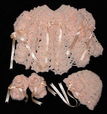 Beautiful Hand-crocheted Baby Set **jacket + Hat + Booties ** Peach **