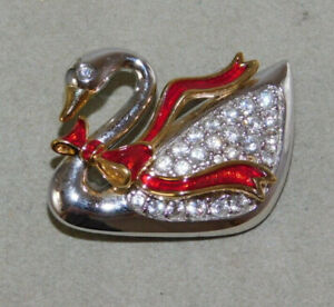 Signed-Swan-Swarovski-Christmas-Red-Enamel-Bow-Swan-Bird-Silver-Pin-Brooch-9j-41