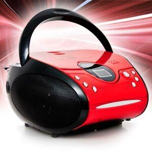 Portable-CD-Player-FM-Radio-Tuner-Boombox-Kids-Battery-Lenco-SCD-24-red-black