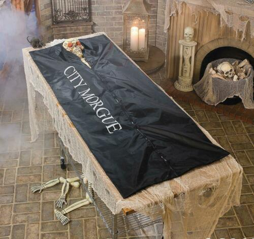 CITY MORGUE SKELETON DEAD BODY BAG 6/' FT HALLOWEEN PROP BLACK CRIME SCENE MURDER