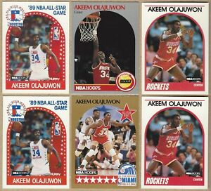1989 Hoops #178, 180 AKEEM OLAJUWON -1990 Hoops #23, 127 - 6 Card Lot