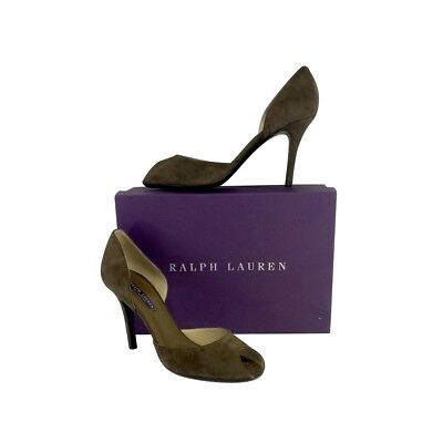 New Ralph Lauren Purple Label 7 Open toe Amelda Suede Heels Olive Green Shoes