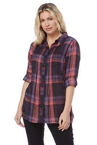Roman-Originals-Women-Check-Pintuck-Shirt-in-Purple-sizes-10-20