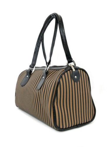 Striped Canvas Trim Leather Black Bowler Bag Cozy C16q0v