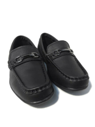 New Fouger Teens Black//White//Brown Formal Dress Shoes Loafers w// Buckle S 4-8