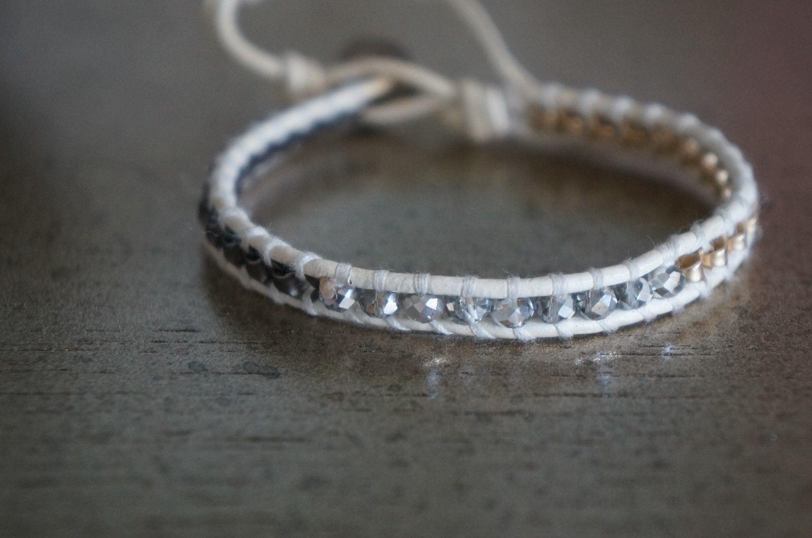 NEW Chan Luu Men Women Swarovski Crystal gold Gunmetal Chain Mix Wrap Bracelet
