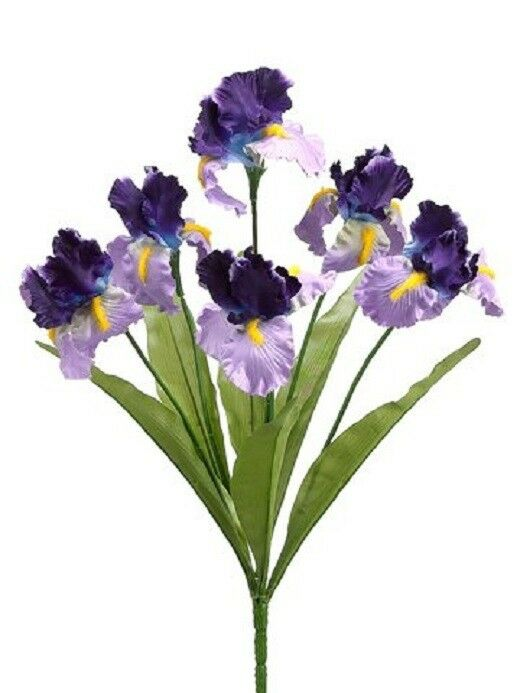 12 Artificial 21  Iris Bushes Silk Flower FAKE PLANT DECOR WEDDING CRAFT NEW 332