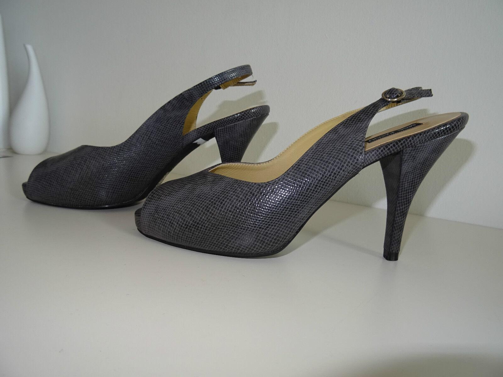 Neu Miss Patou Slingpumps Peeptoes Schuhe Gr.37 Grau Schlangenoptik