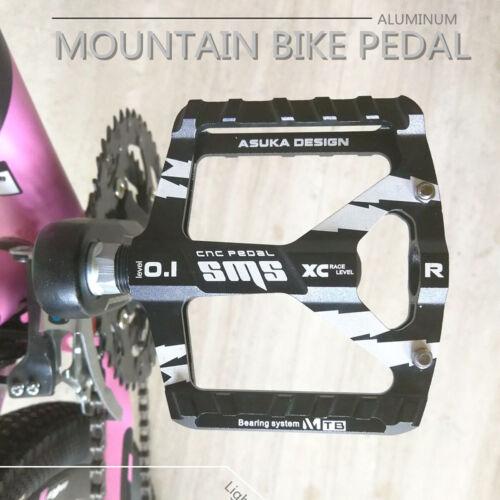 Ultralight Road Bike Cycling Pedals Wide Platform Flat Aluminum Sealed Axle 9//16
