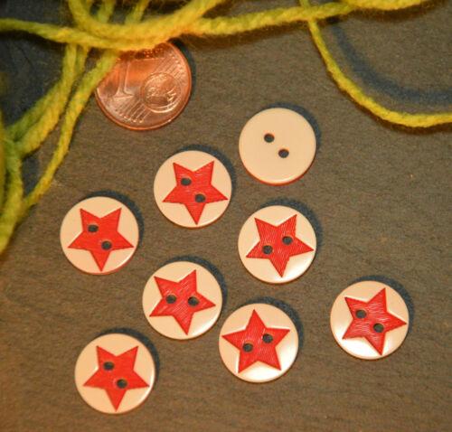 Kleine rote Stern Knopf Knöpfe 1,3cm 13mm 10 Stück Eyecatcher