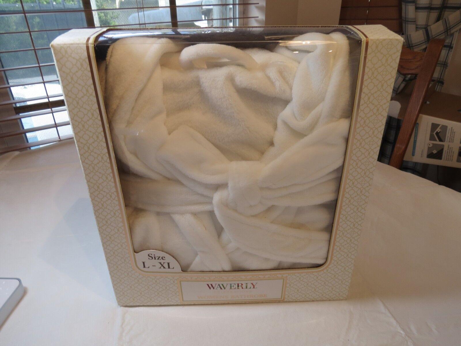 Waverly Celebrations Womens Bathrobe L-XL SOFT bath robe white NOS in box ladies