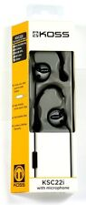 187189  KOSS KSC22i High fidelity active sport?clips Headphones/Mic,Black/Silver