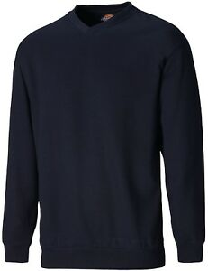 Dickies-Mens-V-Crew-Neck-Sweatshirt-Durable-Work-Jumper-UKS-XXL-SH11125
