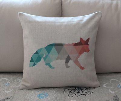 Colorful Geometries Fox Cotton Linen Cushion Cover Throw Pillow Home Decor B664