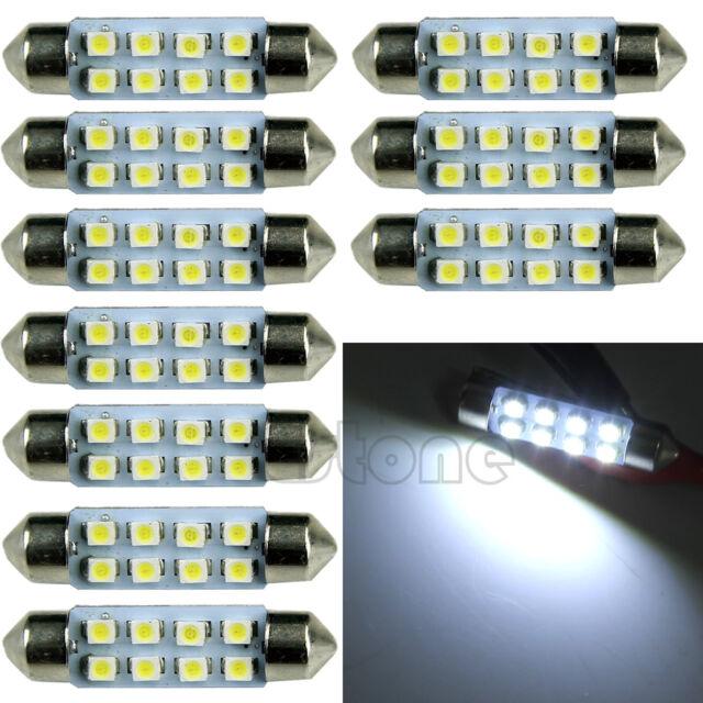 10x Super Bright 41mm 8-LED Car Interior Light Festoon Dome Map Lamp Roof Bulb