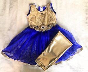 Girls Children Punjabi Suit Dress Indian Royal Blue Gold 2 3