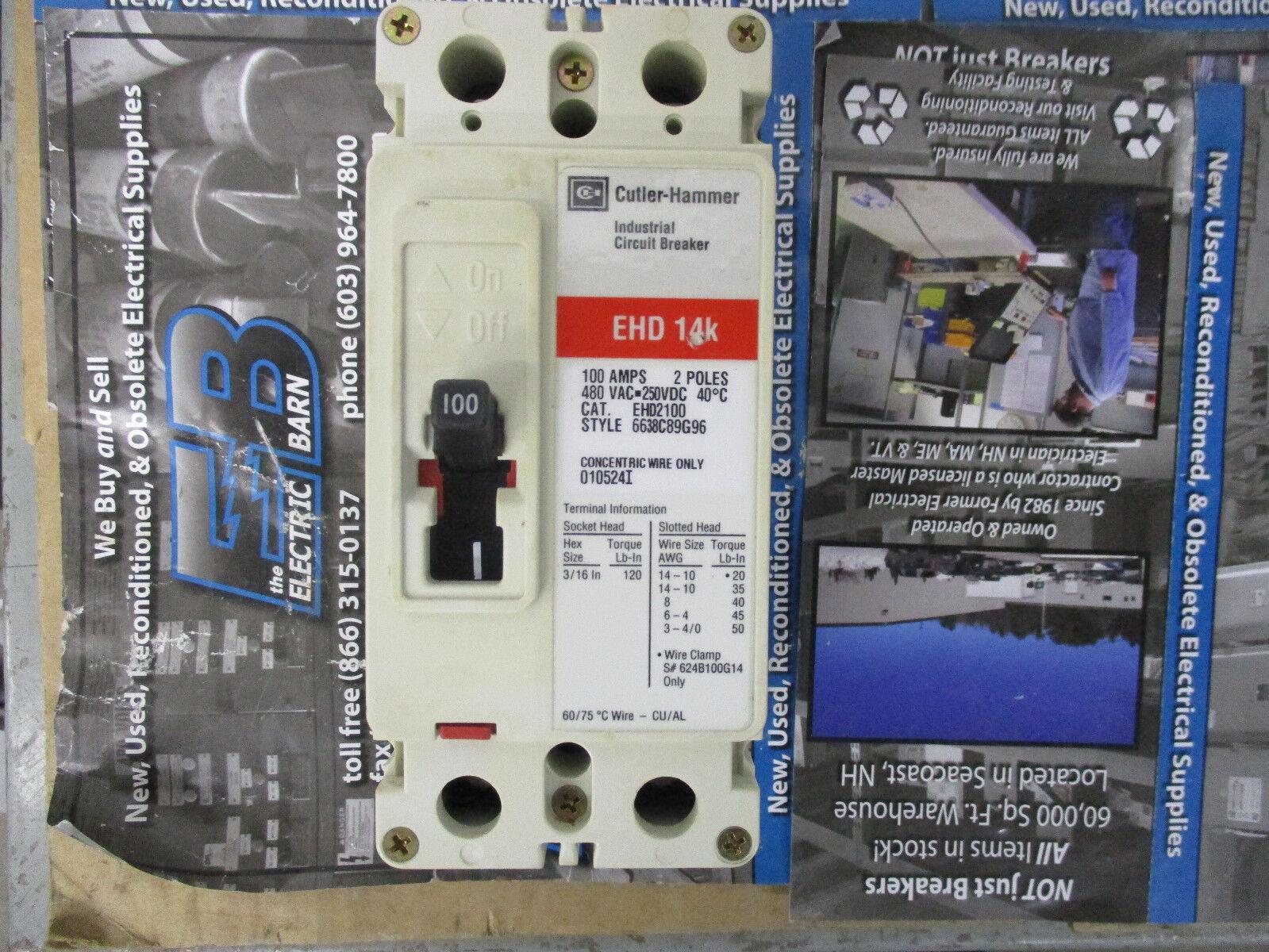 Cutler Hammer Ehd2100 Circuit Breaker 100 Amp 2 Pole 480 Volt Eaton Main Panel Westinghouse Ebay