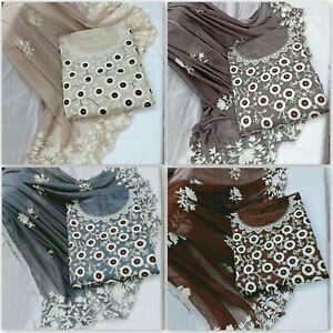 Chanderi-Salwar-Kameez-Embroidery-Work-Anarkali-Pakistani-Indian-Suit-Unstitch-J