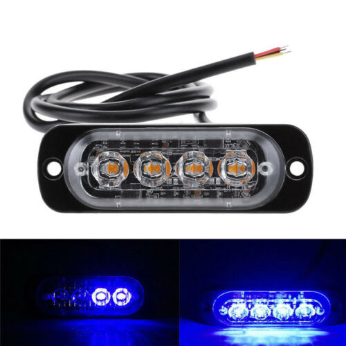 4LED 4W Bar Cars Truck Strobe Flash Emergency Warning Light Lamp 12-24V Blue UV