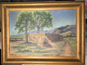 BEAUTIFUL Southwest Oil/Board Painting DARLEY Folk Naive Adobe Terra Cotta Oven