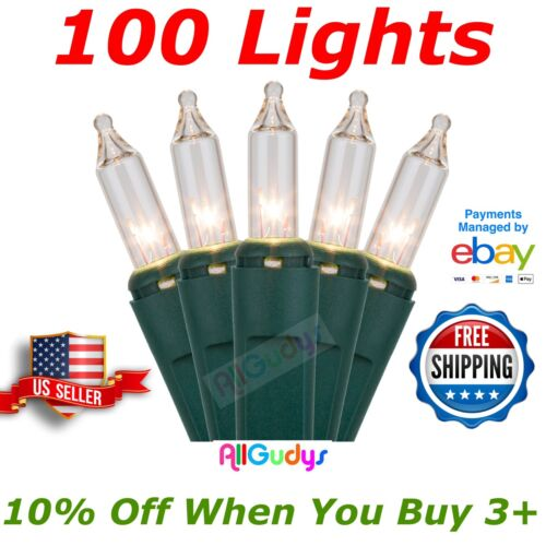 100 CLEAR Christmas Wedding Lights String Indoor Outdoor Green Wire