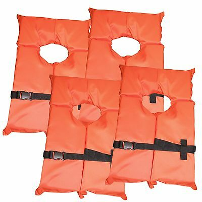 4 Pack Type II Orange Life Jacket Vest - Adult Universal Boating PFD