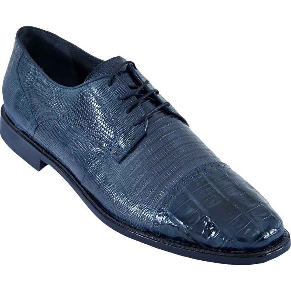 Los Altos NAVY BLUE Genuine Caiman Crocodile With Lizard Dress Shoes Oxford EE Scarpe classiche da uomo