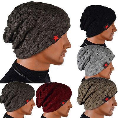 3b702f608 Unisex Mens Beanie Cap Wool Knit Baggy Loose Oversized Slouchy Winter Warm  Hat | eBay