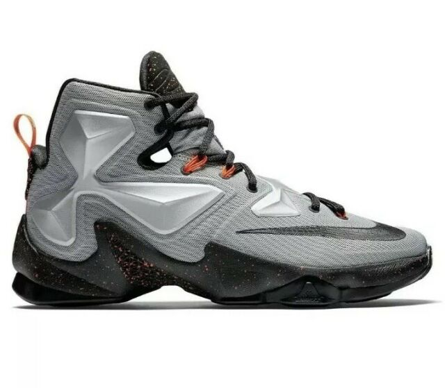 huge discount 99d3b 8c0d4 Nike Lebron XIII 13 Metallic Silver Black Basketball 807219-003 Mens Size 10