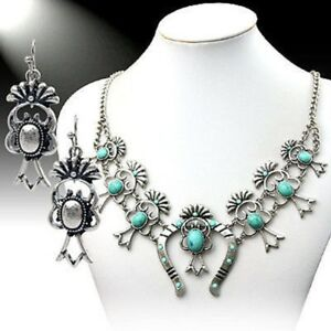 SQUASH-BLOSSOM-necklace-set-in-turquoise-and-silver-tone-18-inch-adj