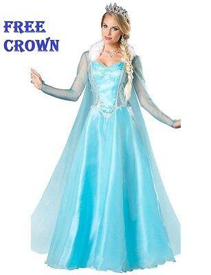 Frozen Elsa Snow Queen Blonde Wig Adult  Fancy Dress Costume Princess FREE CROWN