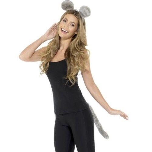 Erwachsene Tier Maus Modisches Kostüm-set Ohren auf Haarreif /& Schwanz Satz Grau