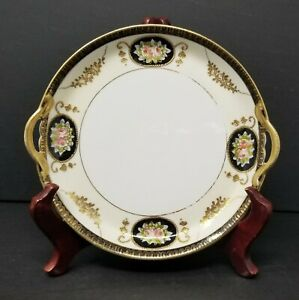 Vintage-NORITAKE-Hand-Painted-7-1-2-039-039-Plate-With-Gold-Trimmed-Handles-Pink-Rose