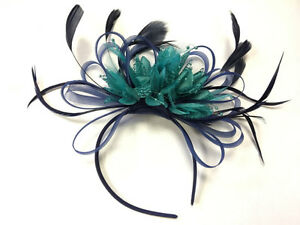 Image is loading BESPOKE-Navy-Blue-and-Turquoise-Teal-Fascinator-Headband- 012ba8b2149