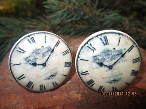 Moebelknopf-Moebelknauf-Schubladen-Porzellan-Vintage-Keramik-Uhr-Wecker-Shabby