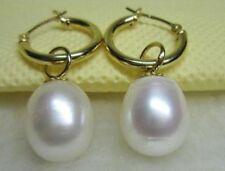AAA 13x11mm South Sea White Pearl Earrings 14k Yellow Gold