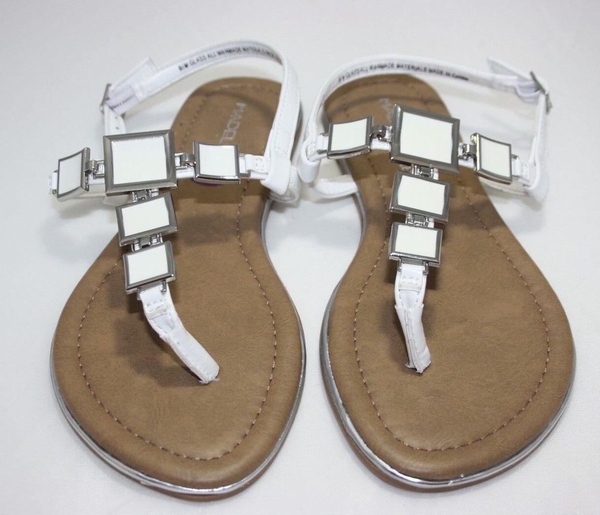 Madeline Stuart Sandals Womens Fashion Flip Flop Sandals Stuart White Squares Size: 6,5M bccd3f
