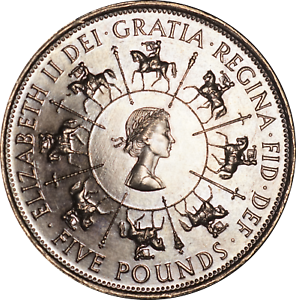 UK Elizabeth II 5 Pounds Coin 1953 - 1993 UNC