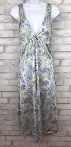 Vintage Intimate Options Long Double V Sleeveless Nightgown Nylon Floral Size M